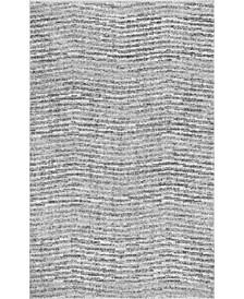 "Smoky Contemporary Sherill Ripple Gray 6'7"" x 9' Area Rug"