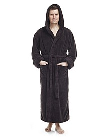 Men's Soft Fleece Robe, Ankle Length Hooded Turkish Bathrobe