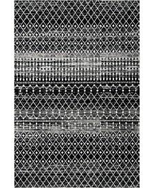"Bodrum Moroccan Blythe Black 6'7"" x 9' Area Rug"