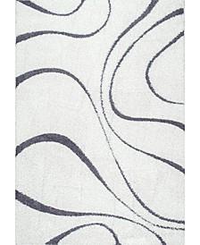 """Pattern Shag Cozy Soft and Plush Caroyln Beige 3'3"""" x 5' Area Rug"""