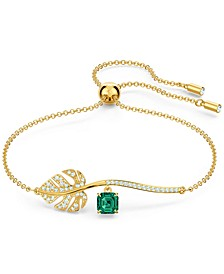 Gold-Tone Tropical Green Stone Bangle Bracelet