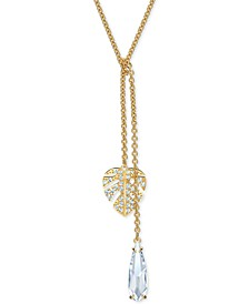 "Gold-Tone Crystal Leaf Lariat Necklace, 14-7/8"" + 2"" extender"