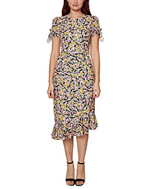 Betsey Johnson Floral-Print Embellished Tie-Sleeve Dress