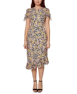 Betsey Johnson FLORAL-PRINT EMBELLISHED TIE-SLEEVE DRESS