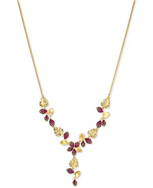 """Gold-Tone Tropical Flower Lariat Necklace, 11-1/4"""" + 2"""" extender"""