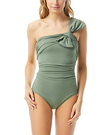 Ruched One-Shoulder One Piece Swimsuit
