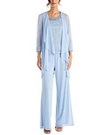 Petite 3-Pc. Jacket, Lace Top & Pants Set