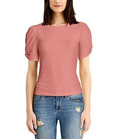 Juniors' Twisted Puff-Sleeve Top