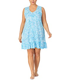 Plus Size Cotton Printed Flounce Nightgown
