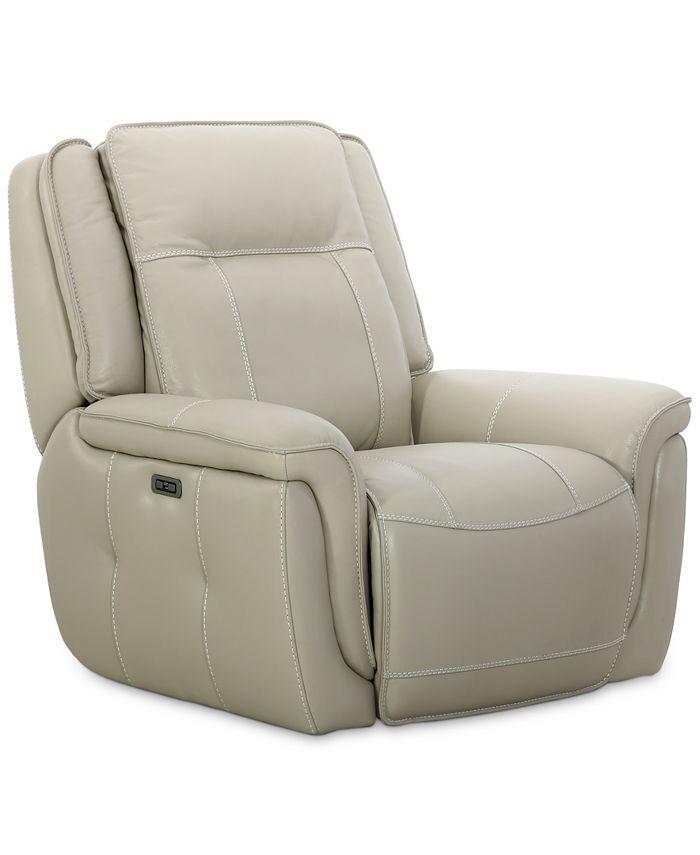 "Furniture - Lenardo 42"" Leather Power Recliner"