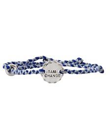 Sterling Silver and Blue Thread Bracelet - I am Change