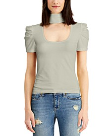 Juniors' Mock-Neck Puff-Sleeve Top