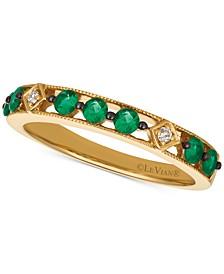 Costa Smeralda Emerald (1/4 ct. t.w.) & Diamond Accent Band in 14k Gold