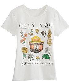 Hybrid Juniors' Cotton Smokey Bear Graphic T-Shirt