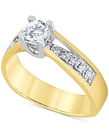 Diamond Two-Tone Engagement Ring (3/4 ct. t.w.) in 14k Gold & 14k White Gold