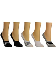Women's toe Stripe Foot Liner Socks, Pack of 5