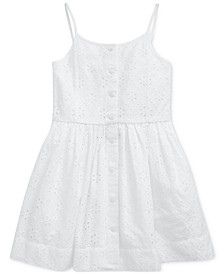 Toddler Girls Eyelet Buttoned Cotton Dress