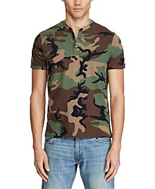 Men's Camo Mesh Henley Shirt