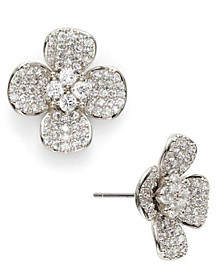 Cubic Zirconia Pavé Flower Stud Earrings, Created for Macy's