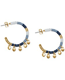Gold-Tone Charm Beaded Hoop Earrings