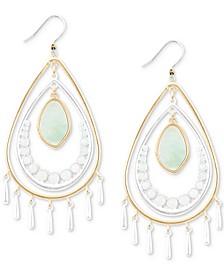 Two-Tone Stone Statement Earrings