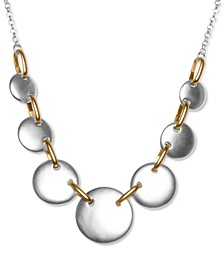 """Two-Tone Circle Collar Necklace, 18"""" + 2"""" extender"""