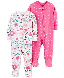 Baby Girls 2-Pk. Cotton Footie Coveralls