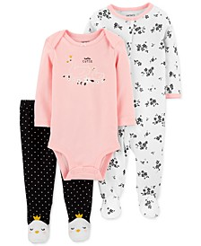 Baby Girls 3-Pc. Cotton Hello Cutie Coveralls, Bodysuit & Footie Pants Set