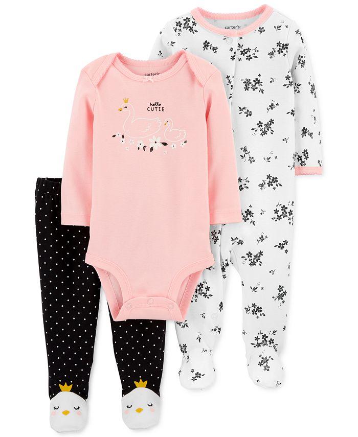 Carter's - Baby Girls 3-Pc. Cotton Hello Cutie Coveralls, Bodysuit & Footie Pants Set