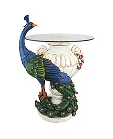 Staverden Castle Peacock Sculptural Glass-Topped Table