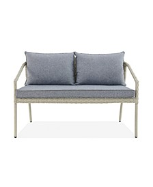 Windham All-Weather Wicker Seat Outdoor Bench with Cushions