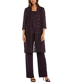 Petite 3-Pc. Sequined-Lace Jacket, Top & Pants