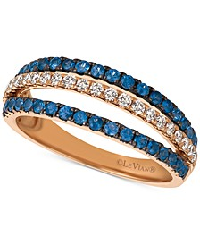 Blueberry Sapphire (1/2 ct. t.w.) & Diamond (1/4 ct. t.w.) Triple Row Ring in 14k Rose Gold