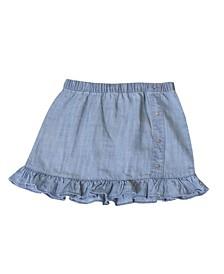 Toddler Girls Pull on Chambray Skirt