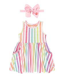 Toddler Girls Rainbow Stripe Ruffle Dress and Bow Headband Set