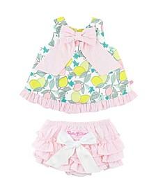 Toddler Girls Make Lemonade Swing Top Seersucker Dress Set