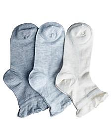 Women's Silk Summer Ruffle Anklet Socks - Pack of 3