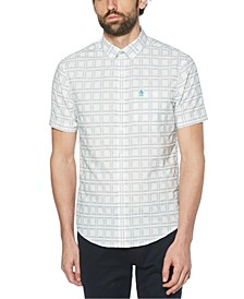 Men's Retro Windowpane Plaid Short Sleeve Button-Down Shirt