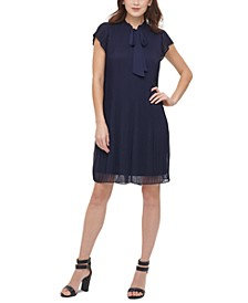 Pleated Tie-Neck Shift Dress