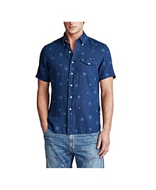 Men's Classic Fit Star Linen Shirt