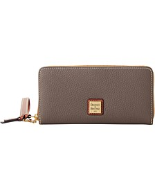 Pebble Leather Zip Around Phone Wristlet