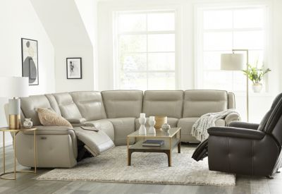 Lenardo 5-Pc. Leather Sectional with 3 Power Motion Recliners, Created for Macy's