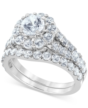 Macy's Star Signature Certified Diamond Halo Bridal Set (3 ct. t.w.) in 14k White Gold