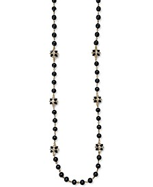 """Gold-Tone Crystal Flower & Imitation Pearl Strand Necklace, 42"""" + 2"""" extender, Created for Macy's"""