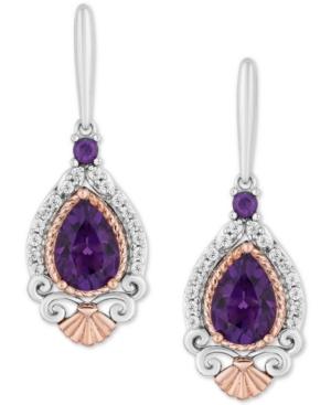 Enchanted Disney Amethyst (2 ct. t.w.) & Diamond (1/7 ct. t.w.) Ariel Drop Earrings in Sterling Silver & 14k Rose Gold