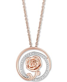 "Enchanted Disney Diamond Multi-Ring Rose Belle Pendant Necklace (1/7 ct. t.w.), in Sterling Silver & 14k Rose Gold ,16"" + 2"" extender"