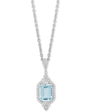 Enchanted Disney Aquamarine (1-1/3 c.t t.w.) & Diamond (1/4 ct. t.w.) Elsa Pendant Necklace in Sterling Silver