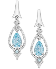Enchanted Disney Aquamarine (1-3/4 ct. t.w.) & Diamond (1/6 ct. t.w.) Elsa Drop Earrings in Sterling Silver