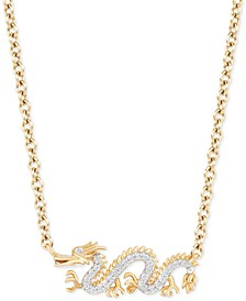 "Enchanted Disney Diamond Dragon Mulan 18"" Pendant Necklace (1/20 ct. t.w.) in 14k Gold"