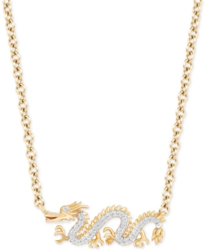"Enchanted Disney Diamond Dragon Mulan 18"" Pendant Necklace (1/20 ct. t.w.) in 14k Gold"